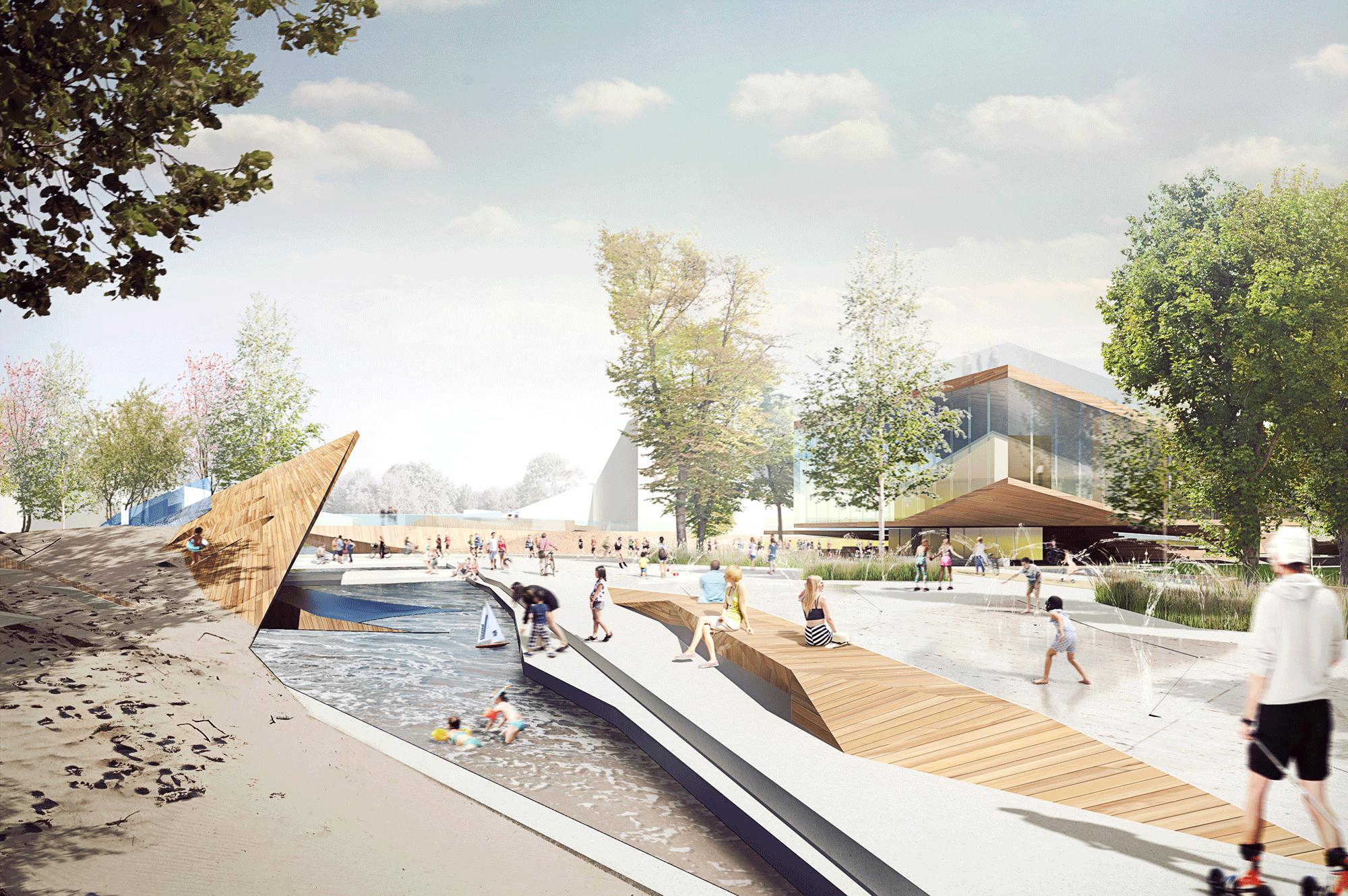 park żerański, przekształcenie zdegradowanych iniezagospodarowanych terenów nawielofunkcyjny park miejski | kanał żerański, warszawa