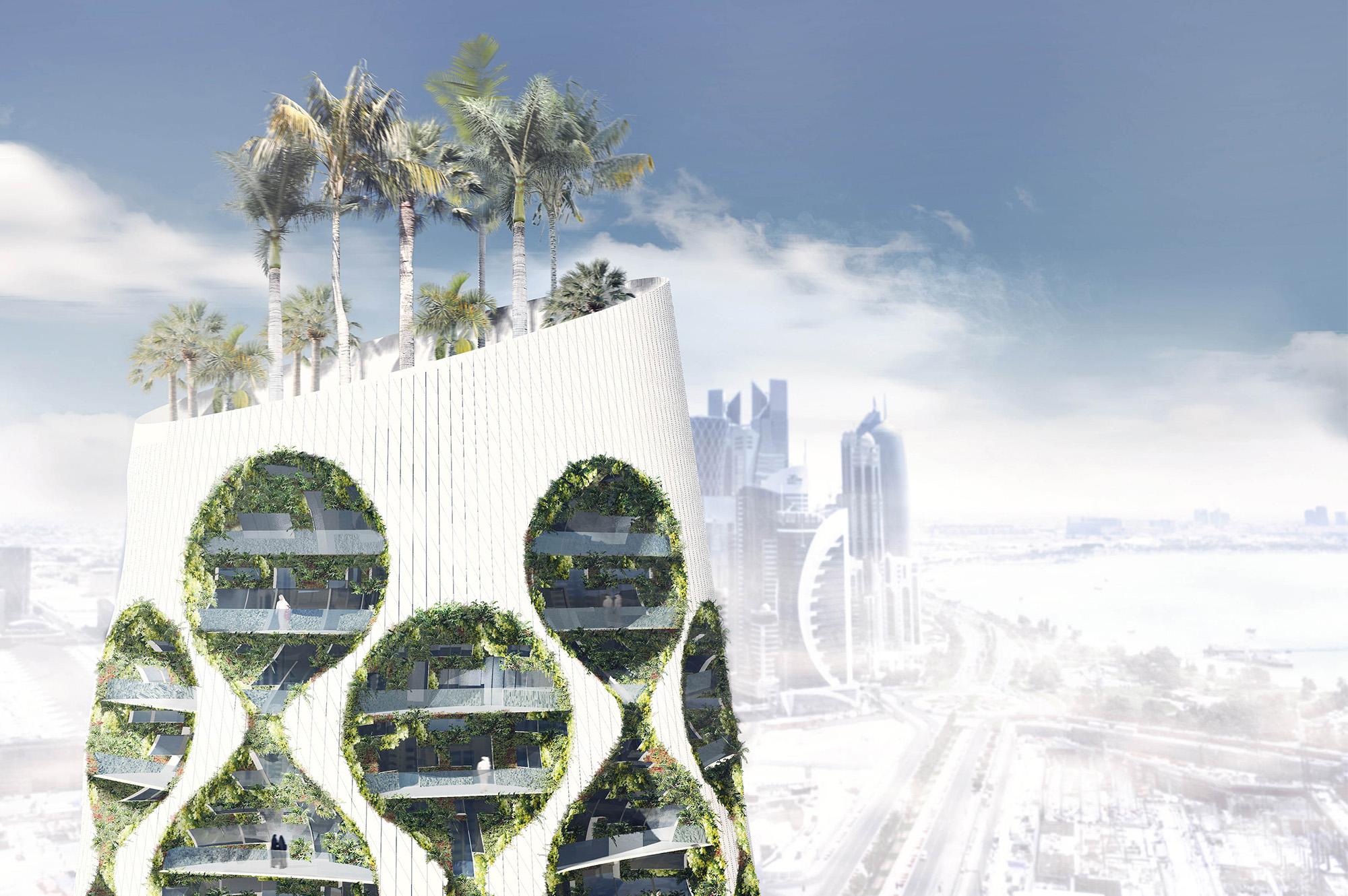 wertykalna oaza, wysokościowy budynek wielofunkcyjny, kreujący klimat wokół siebie | półkula północna ipołudniowa