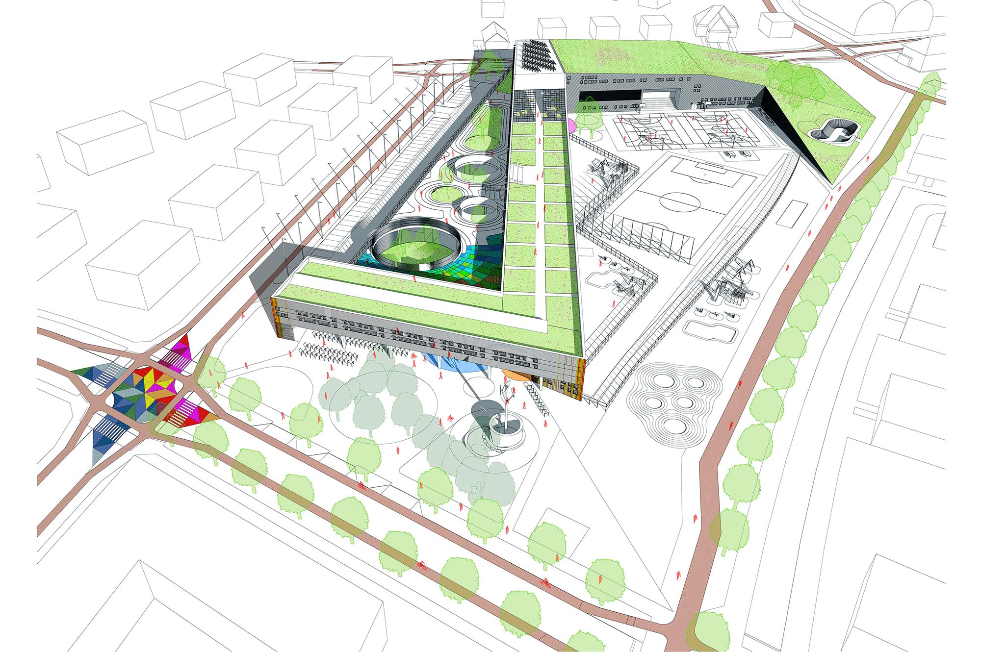 Elementary school, kindergarten and sports complex at Cynamonowa Street in Wrocław.